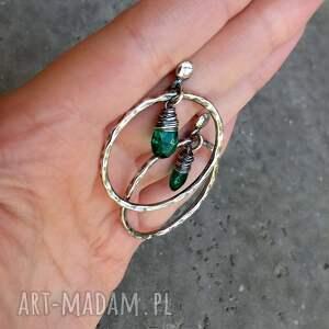 okrągłe zielone kolczyki - srebro i kwarc