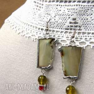 kolczyki z-kamieni oliwkowe z agatem