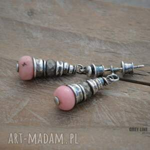 srebro kolczyki różowe opal różowy i piryt