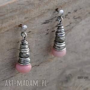 kolczyki srebro opal różowy i piryt