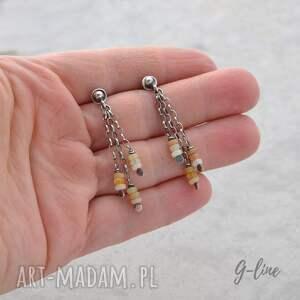 pomarańczowe opal welo . wiszące srebrne kolczyki