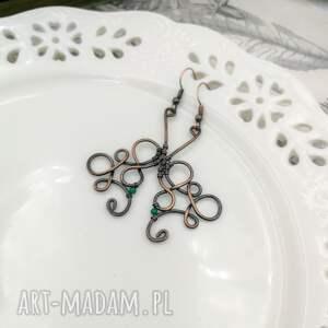 kolczyki z-miedzi ornament green - długie