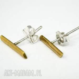 złote sztyfty minimalistyczne kolczyki, wykonane ze srebra