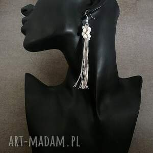 kolczyki perełki ecru - długie