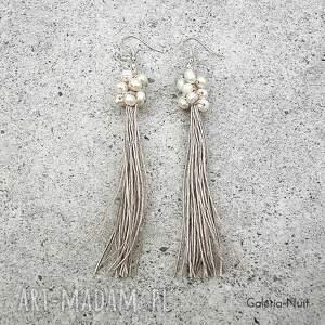 modne kolczyki ecru perełki - długie