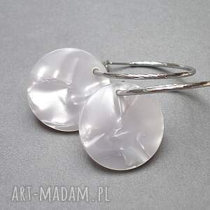 białe koła perle - circle - kolczyki