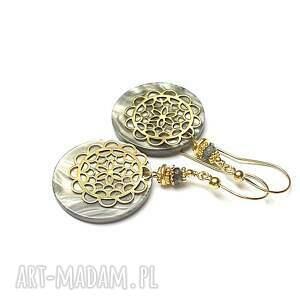 srebro pozłacane perle -rosette vol. 2 /grey/