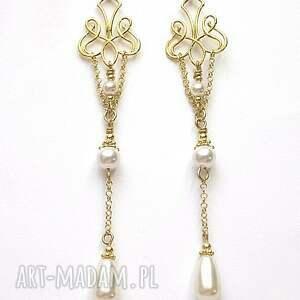 perły kolczyki wykonane ze srebra pokrytego 24k