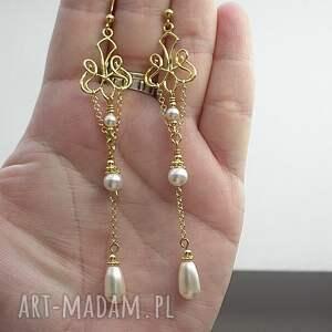 białe srebro perłowe kandelabry - kolczyki