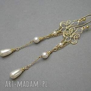 srebro perłowe kandelabry - kolczyki