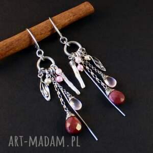 handmade kolczyki srebro perły, listki i łzy mokaitu