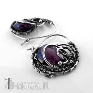 kolczyki-srebrne kolczyki fioletowe poison srebrne z ametystem