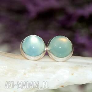 błękitne-wkrętki kolczyki turkusowe poranny błękit - srebrne