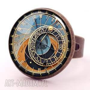 hand made kolczyki praski zegar - małe