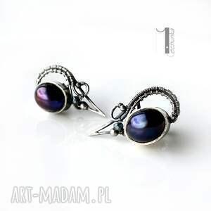 Raven - srebrne kolczyki z perłami - perły srebro