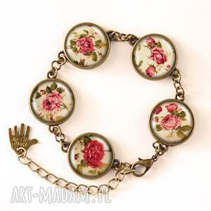 retro kolczyki beżowe róże - duże wiszące