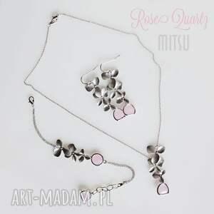 niebanalne kolczyki ślub rose quartz