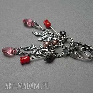 srebro kolczyki różowe różane -