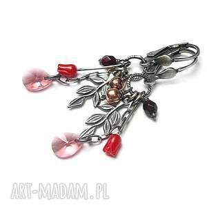 czerwone kolczyki oksydowane różane -