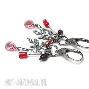 srebro różane - kolczyki