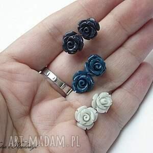 niebieskie kolczyki srebro róże - montana