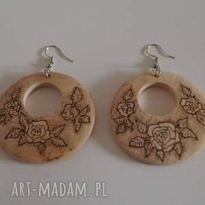 róża kolczyki róże w sepii - drewniane