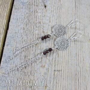 srebro kolczyki rozeta z granatem -długie