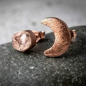 kolczyki kamień 925 /18k różowo pozł