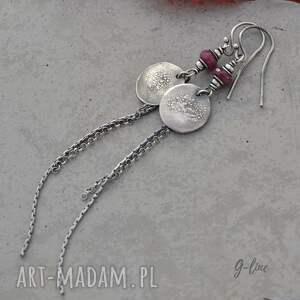 Rubin - długie kolczyki z pastylką - srebro rubiny