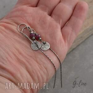 srebro rubin. długie srebrne kolczyki