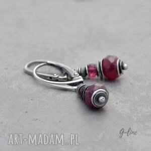 awangardowe rubin i różowy turmalin. srebrne