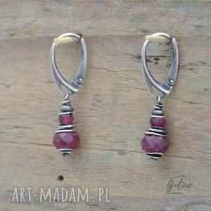 srebro rubin i różowy turmalin. srebrne