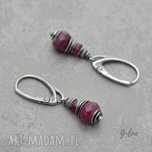 różowe rubin i różowy turmalin. srebrne