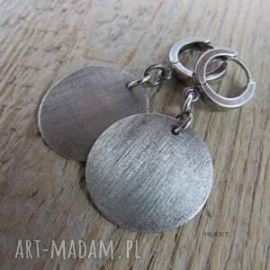 kolczyki srebrne satynowe koła
