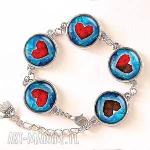 kolczyki czerwone serca - małe wiszące
