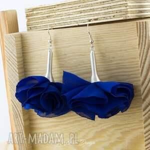 handmade kolczyki duże silk chabrowe kwiaty