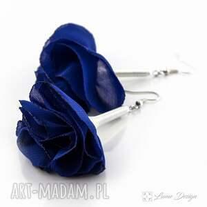 niebieskie kolczyki długie silk chabrowe kwiaty