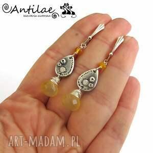 żółte kolczyki artclay sitronu - opal, chalcedon, art clay