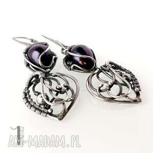 kolczyki wirewrapping skadi - srebrne z perłami