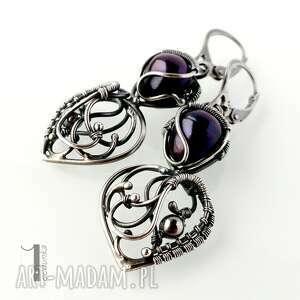 srebro kolczyki czarne skadi - srebrne z perłami