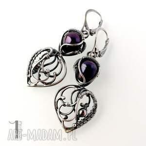 wirewrapping kolczyki skadi - srebrne z perłami