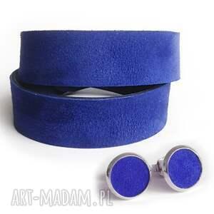 niebieskie kolczyki sztyfty skóra naturalna szafir