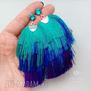 niebieskie kolczyki artystyczne ślad pędzla w turkusie, kobalcie
