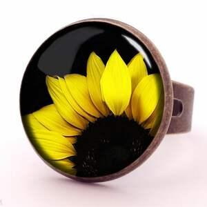 kolczyki kwiatowe słoneczniki - małe wiszące
