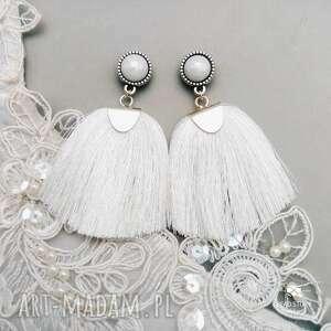 białe ślub kolczyki ślubne z chwostem