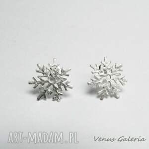 eleganckie srebro śnieżynki - kolczyki