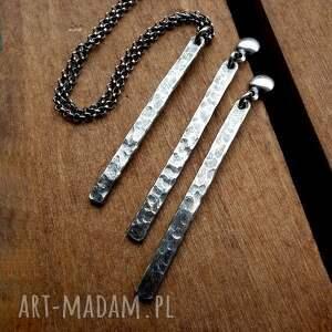 wiszące kolczyki sople fakturowane - srebro