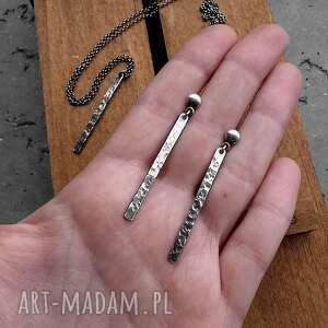 długie kolczyki sople fakturowane - srebro