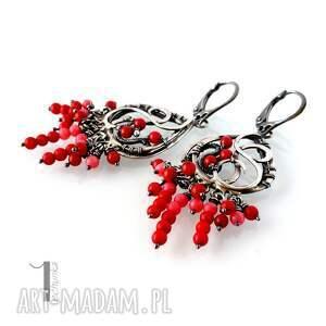 koral kolczyki czerwone sorbus i - srebrne