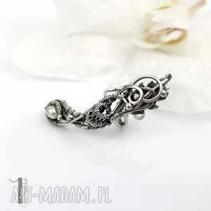nausznica-srebrna kolczyki białe sorbus iii - srebrna nausznica